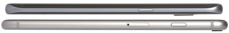 Razlika u veličini - iako oba uređaja dolaze sa 5,5-inčnim ekranom, Galaxy S7 edge je niži i uži od iPhonea 6S Plus, ali ne i tanji.